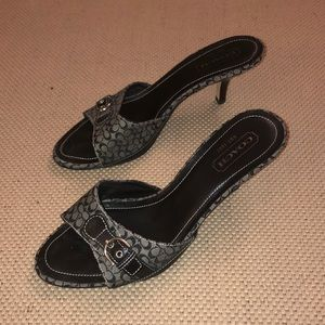 Coach Ashleigh Black/Gray Jacquard Heeled Sandals